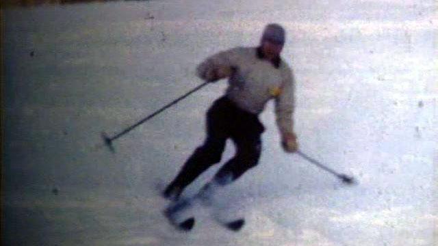A skier on Terry Peak in 1949