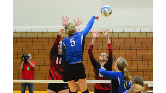 Sioux Falls Christian's Shelby Zomermaand with a kill.
