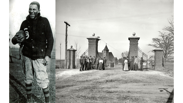 R to L: Cleveland Abbott, The Lincoln gates, Tuskegee Institute