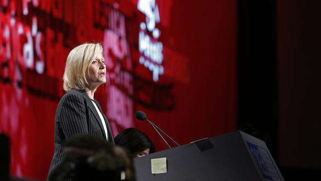 PBS President & CEO Paula A. Kerger speaks to NEA members.