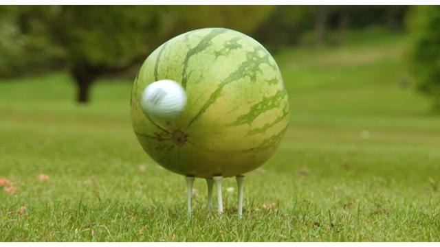 Golf Ball hitting a watermelon