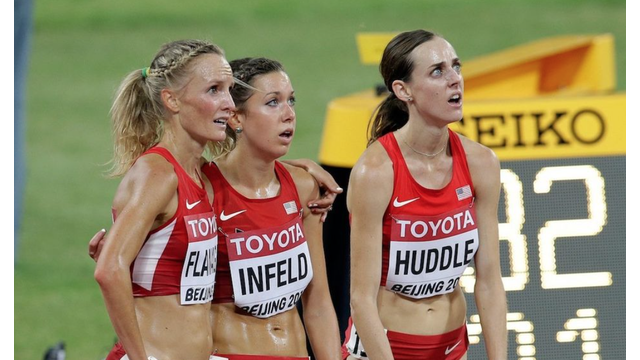 Molly Huddle reacts to finishing in fourth place