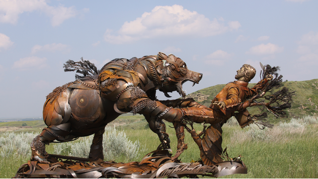 John Lopez's sculpture commemorating Hugh Glass