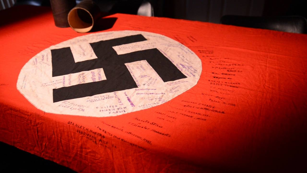 The 12 foot banner that Gigi Hickey discovered in her mother's attic