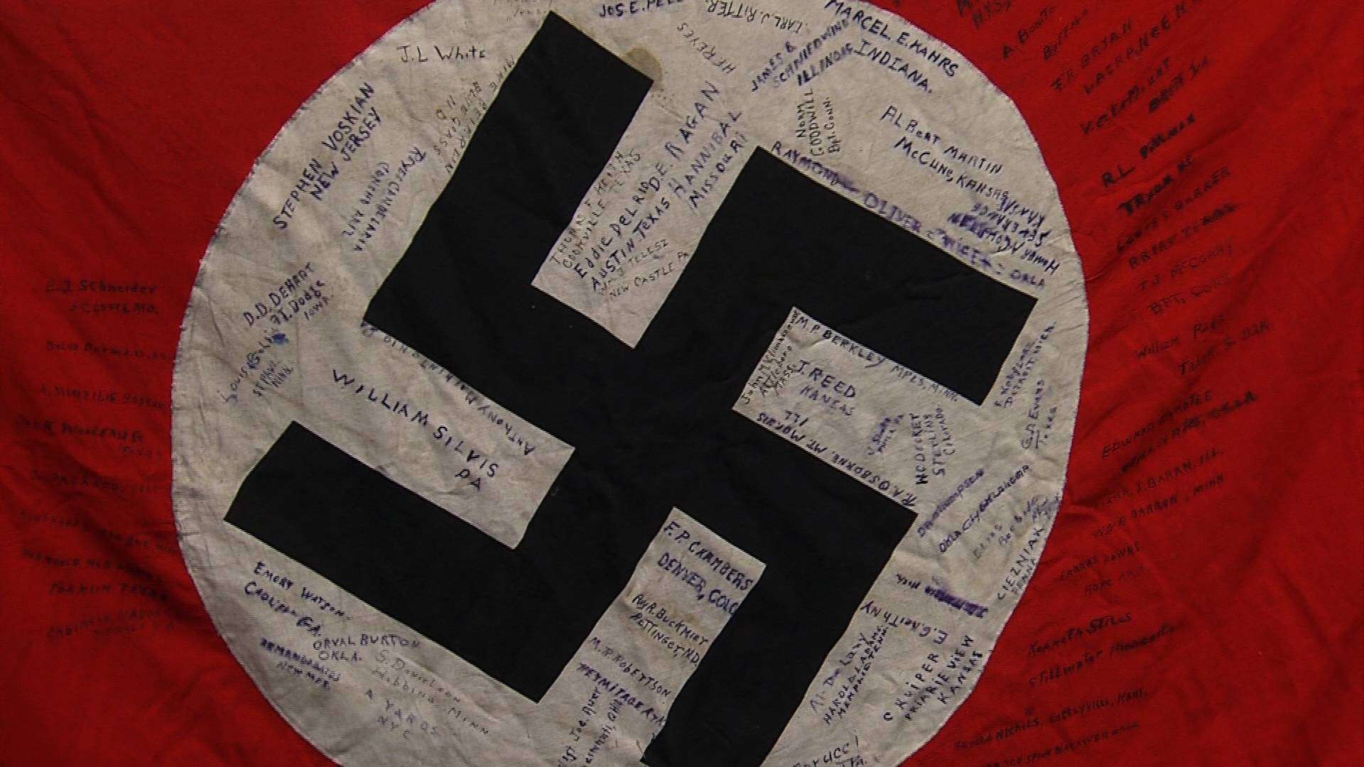 A Nazi Banner with 84 soldier's signatures from Cannon Company