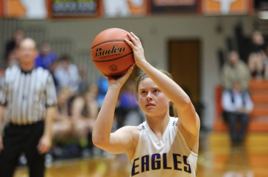 Eagles girl basketball player shooting the ball