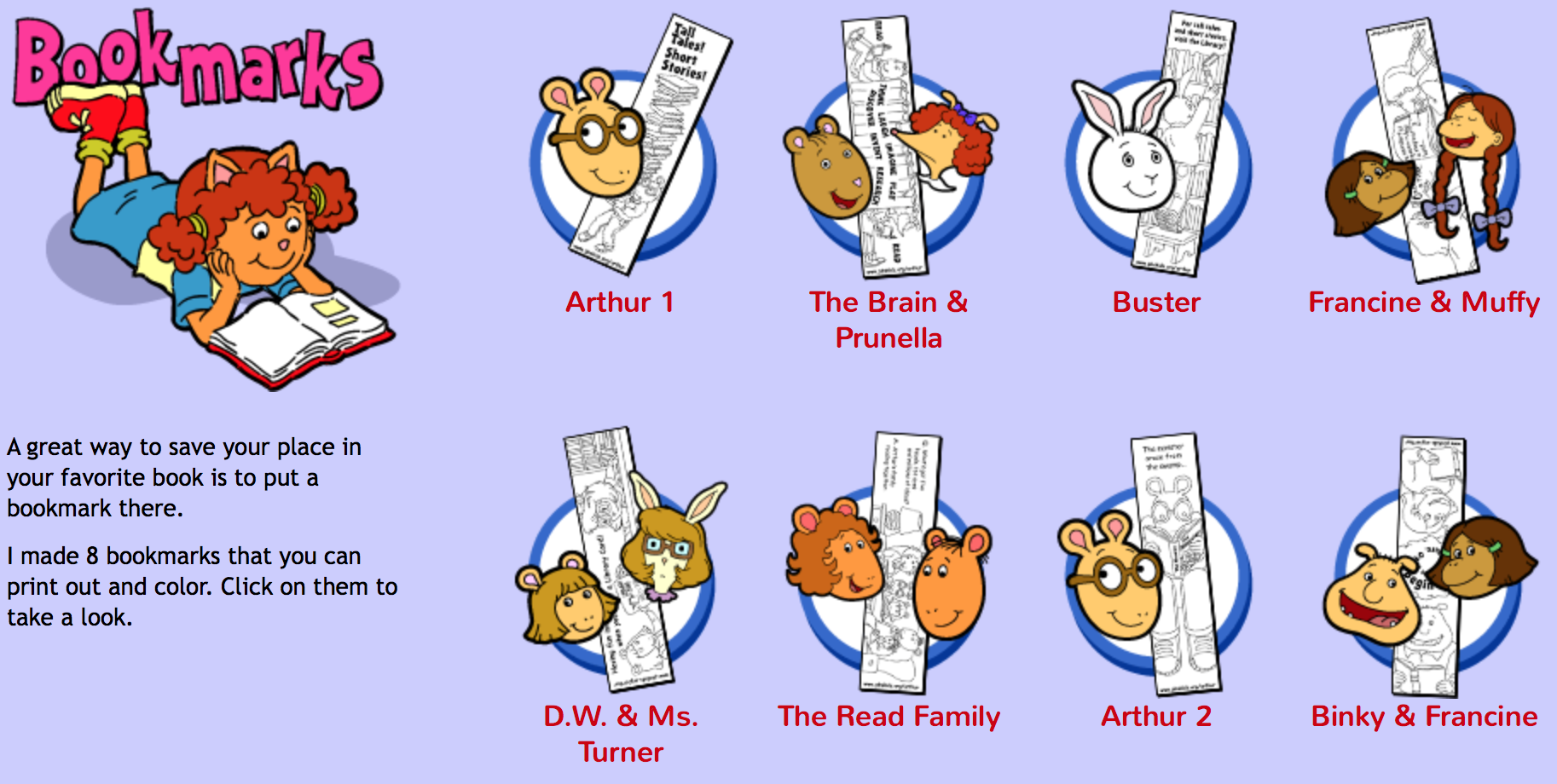 Arthur bookmarks
