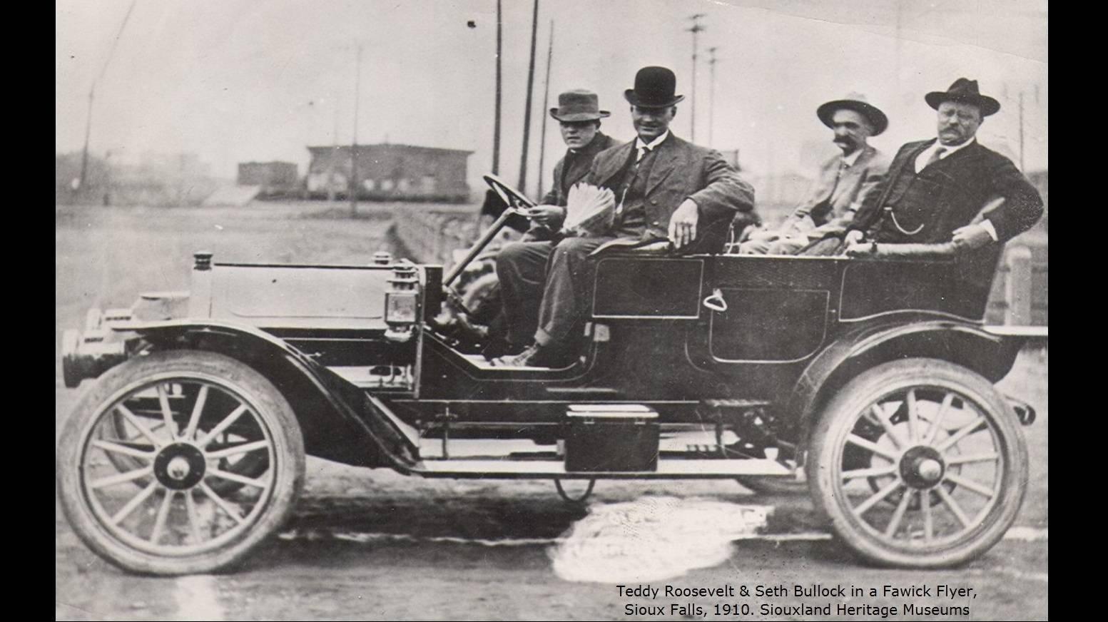 Teddy Roosevelt & Seth Bullock in a Fawick Flyer