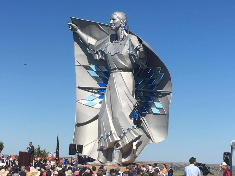 The dedication celebration of the Dignity Sculpture near Chamberlain