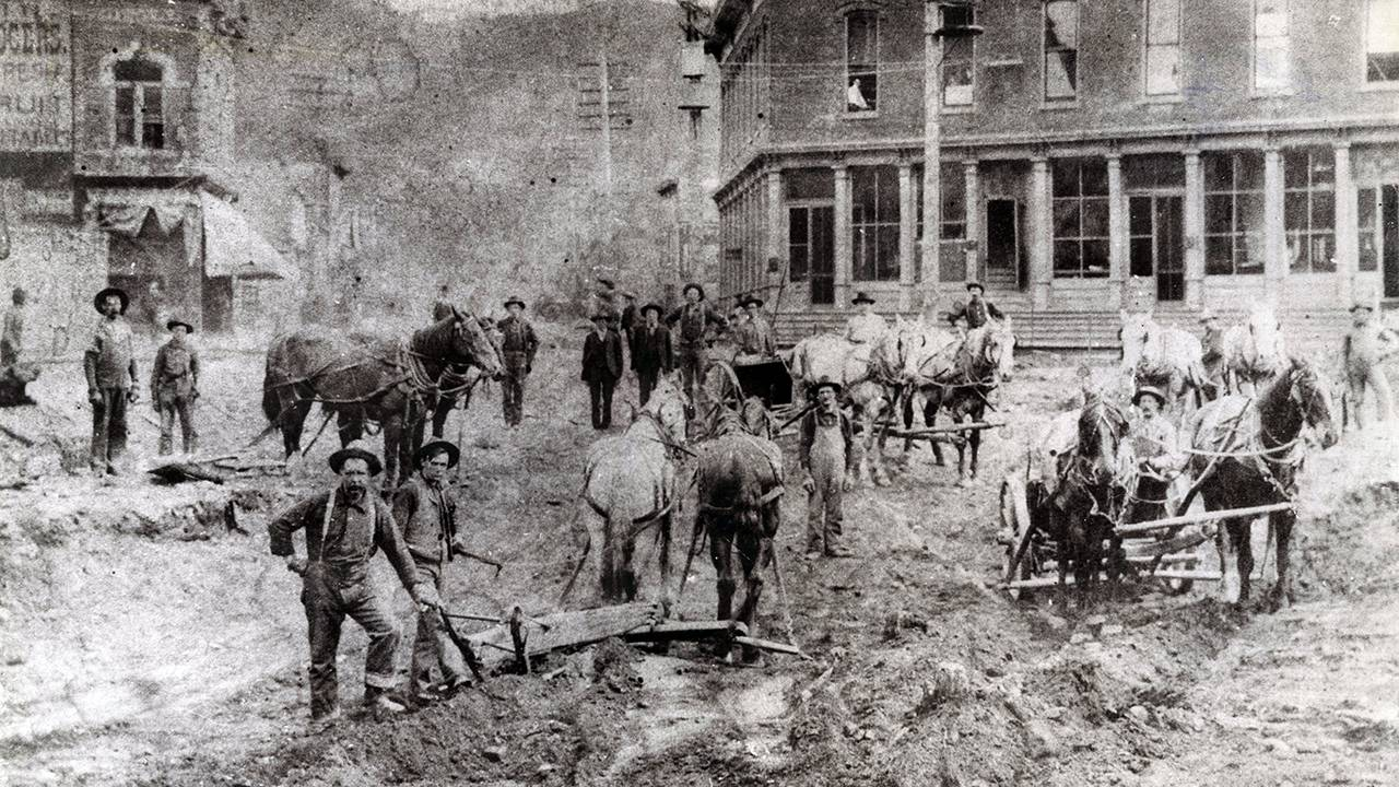Photograph of workers in the Black Hills