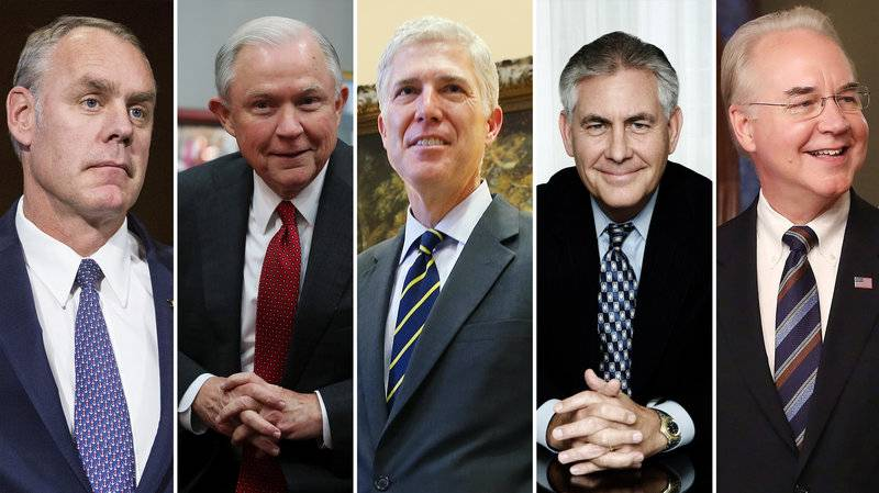 Jeff Sessions, Neil Grosuch, Rex Tillerson, Tom Price, Ryan Zinke