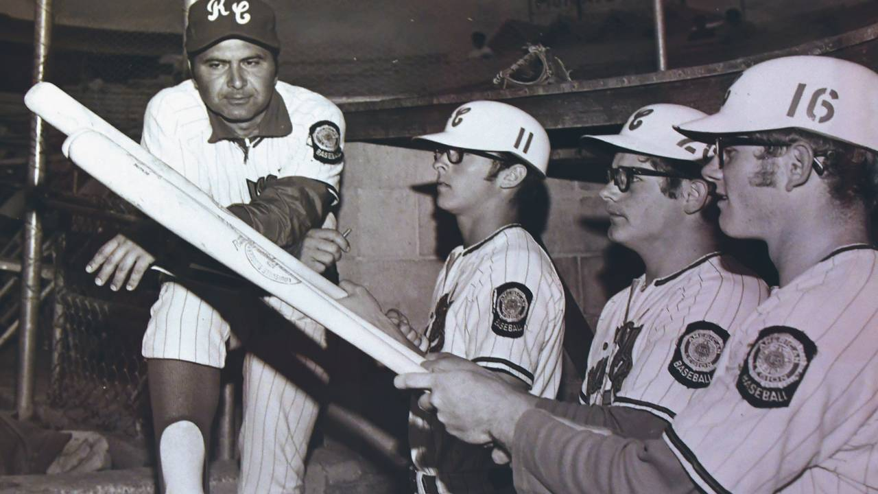 Coach Dave Ploof and Post 22 players, 1970s.