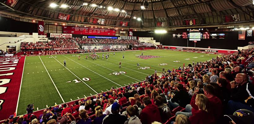 photo of USD football game inside the Dakota Dome
