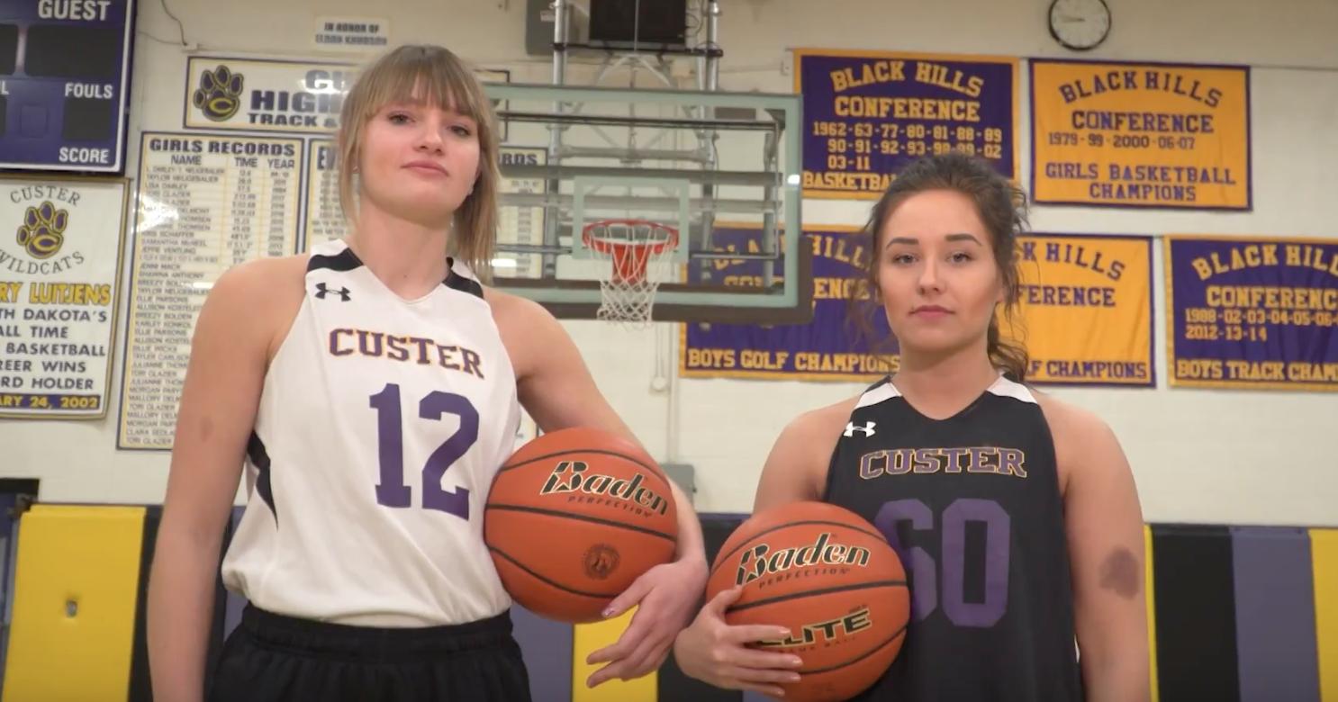 Custer girls basketball players Tori Glazier and McKenzie Becker