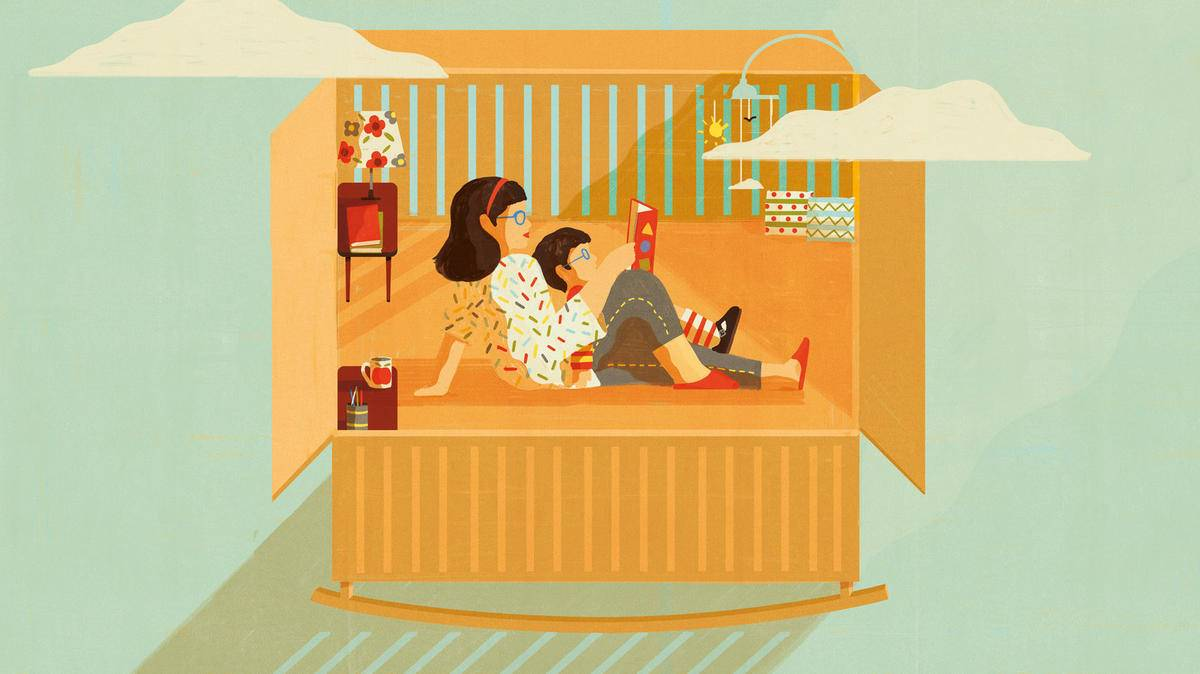 cartoon of mother reading to child