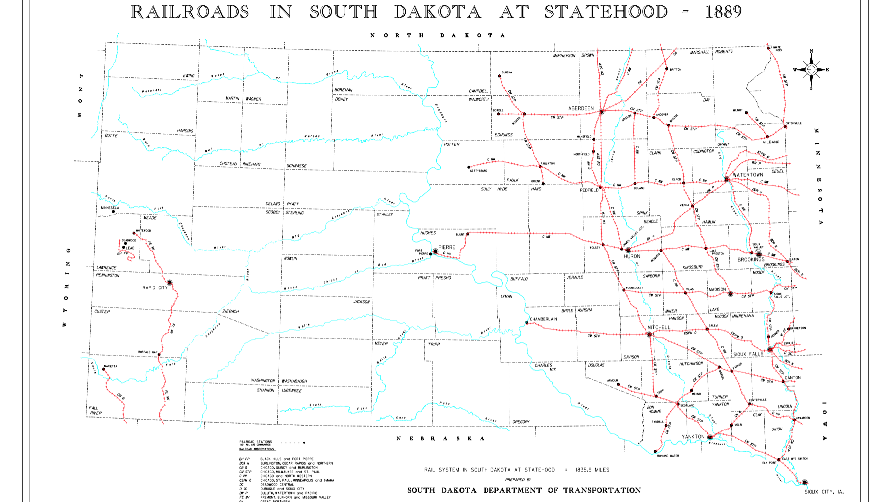 Railroads in South Dakota at Statehood