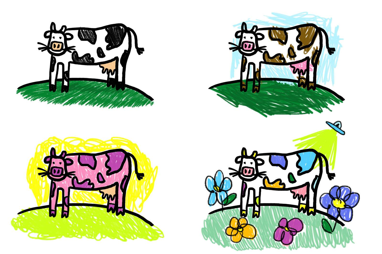 Cows on a coloring book