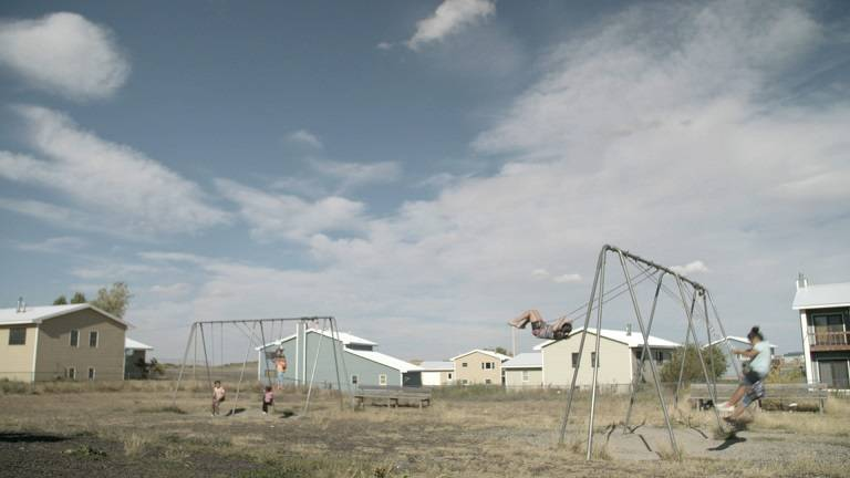 Children play on the Blackfeet reservation in Browning, Montana