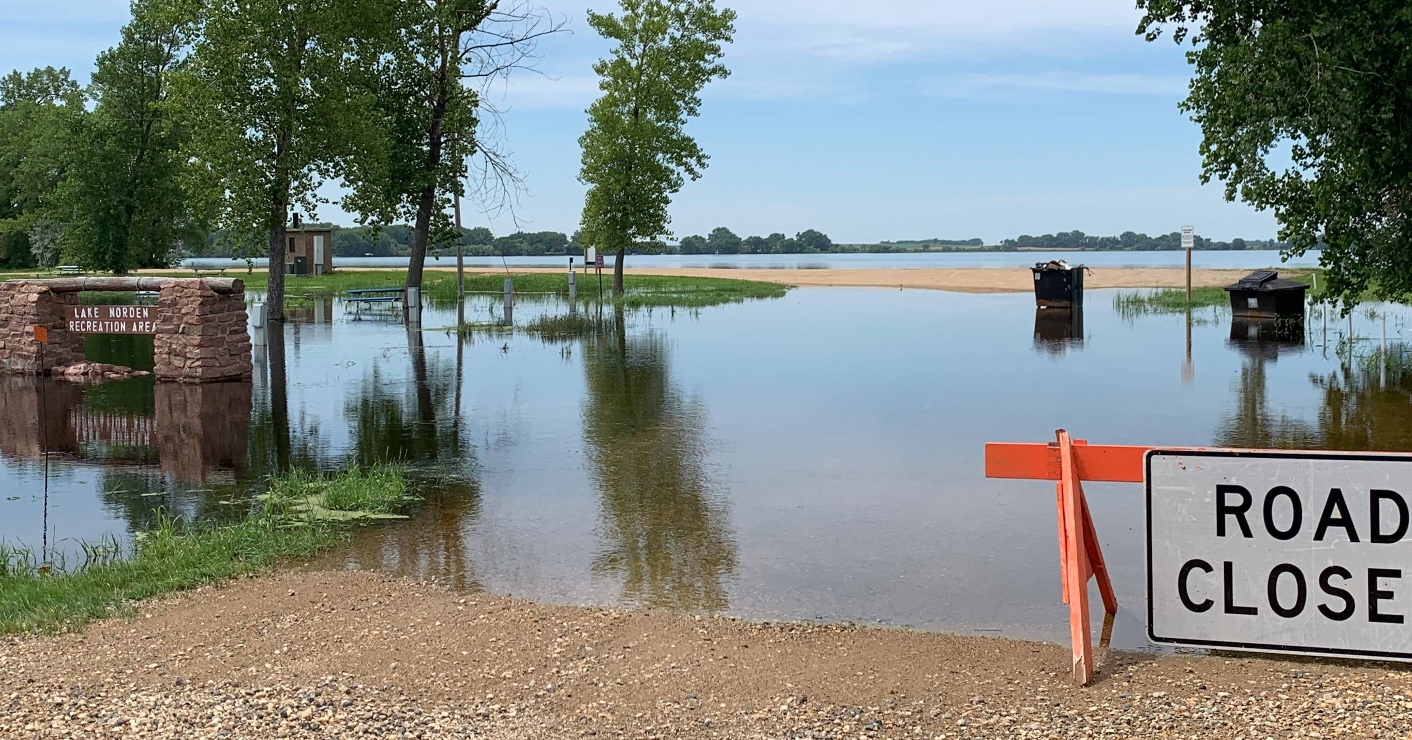 Lake Norden Recreation Area flooded over - July 12, 2019