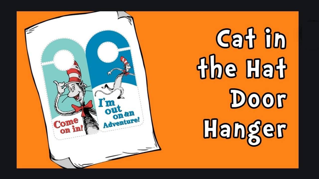 Cat in the hat door hanger