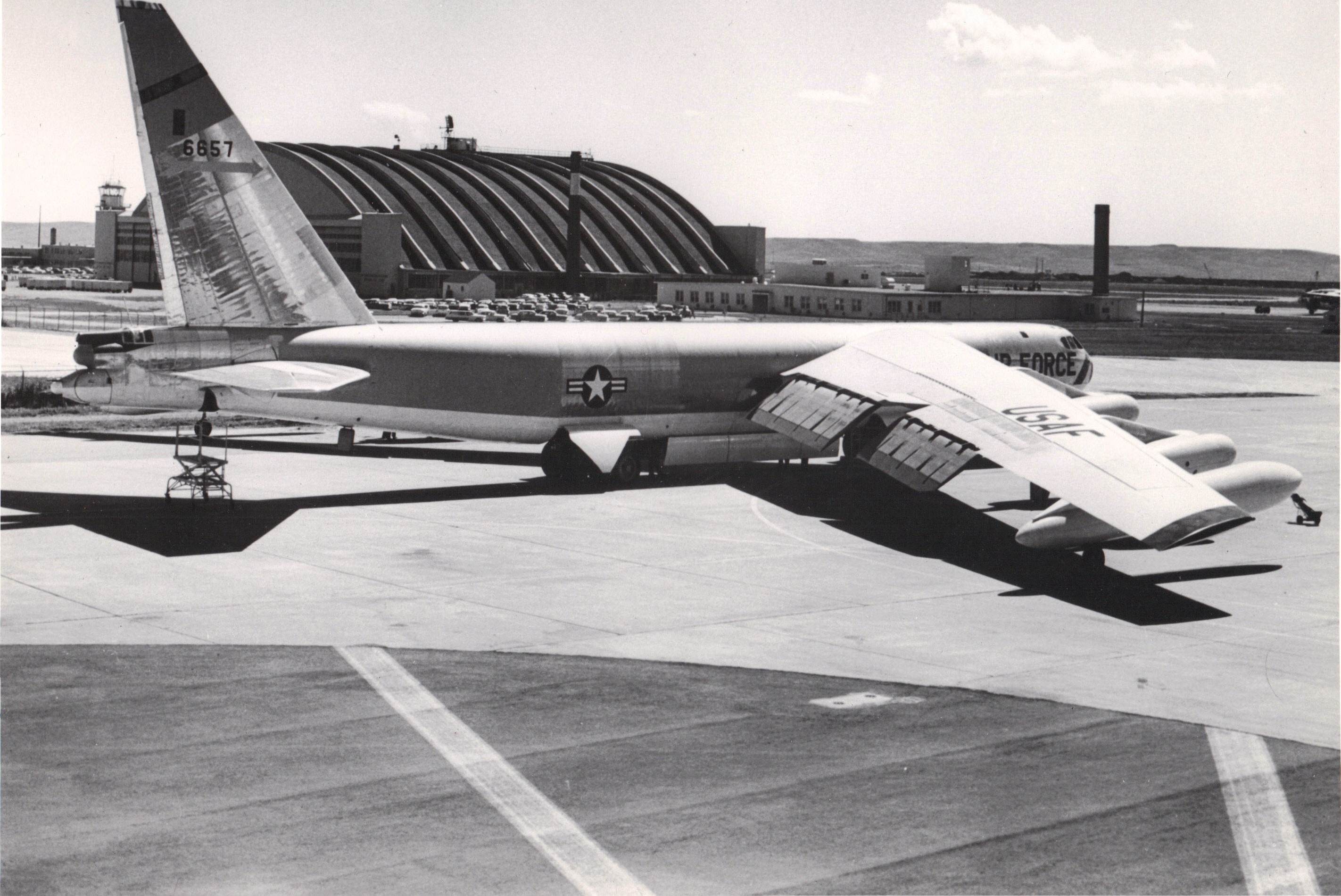 Image - 12.5) B-52D 56-0657 EAFB's first B-52, 1957 (USAF).jpg