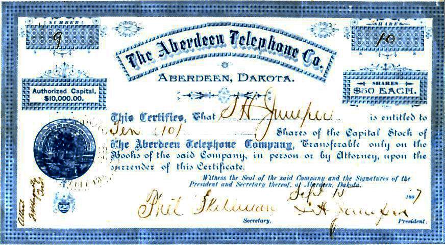 Image - Aberdeen Telephone Co Stock Certificate .jpg