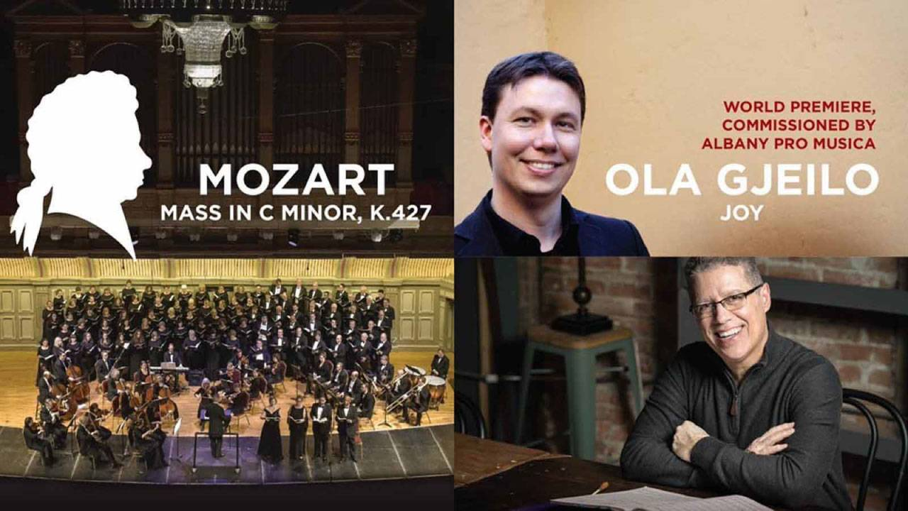 Composition of images including Jose Daniel Flores-Caraballo, Ola Gjeilo, and Albany Pro Musica