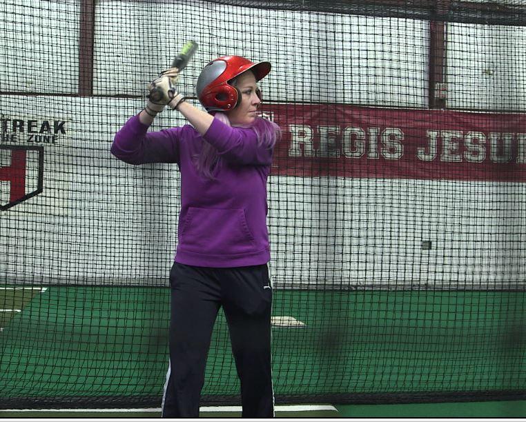 Image - Mollie Holt at batting practice.JPG
