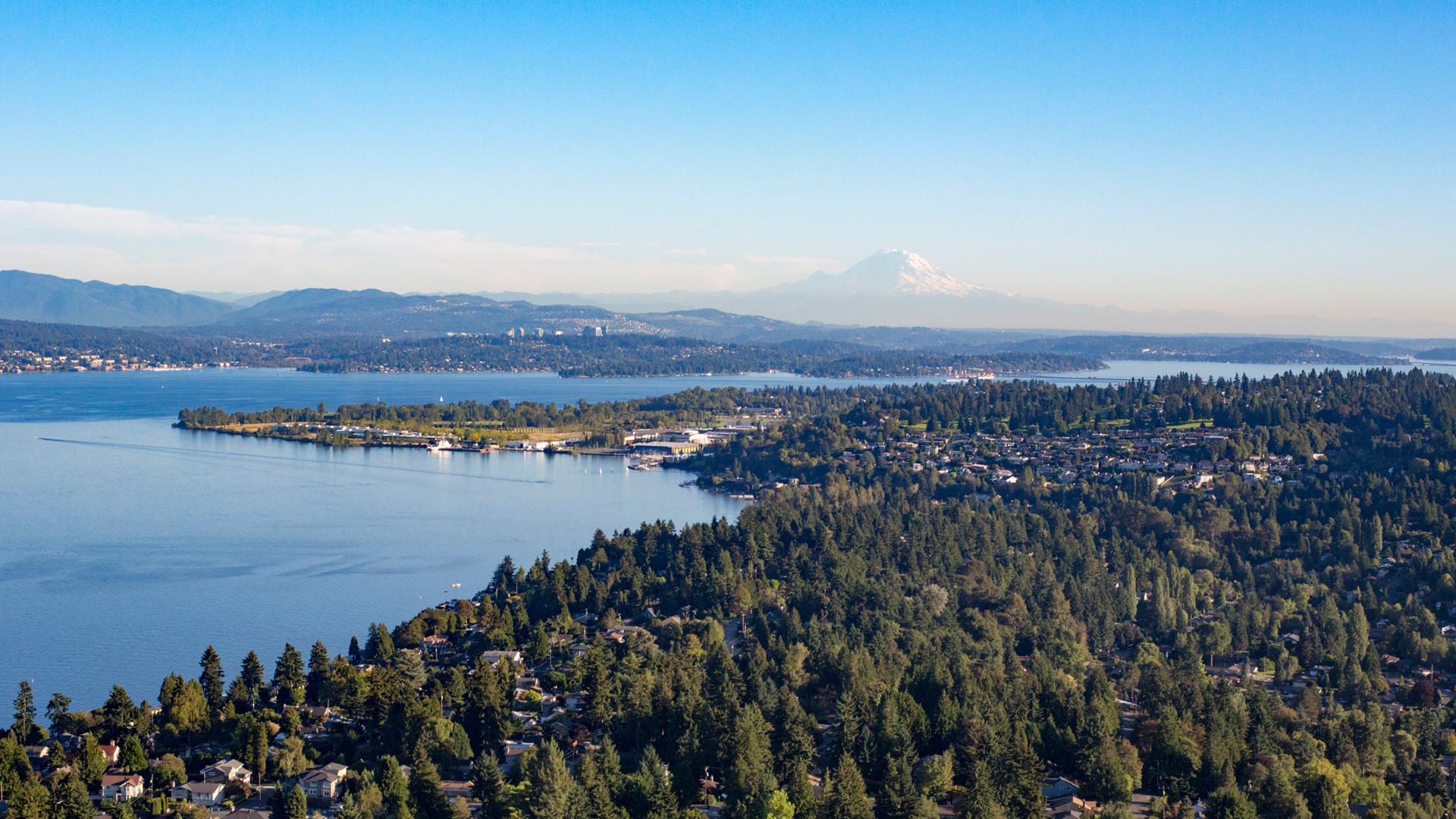 Seattle shoreline with Lake Washington and Mt. Rainier