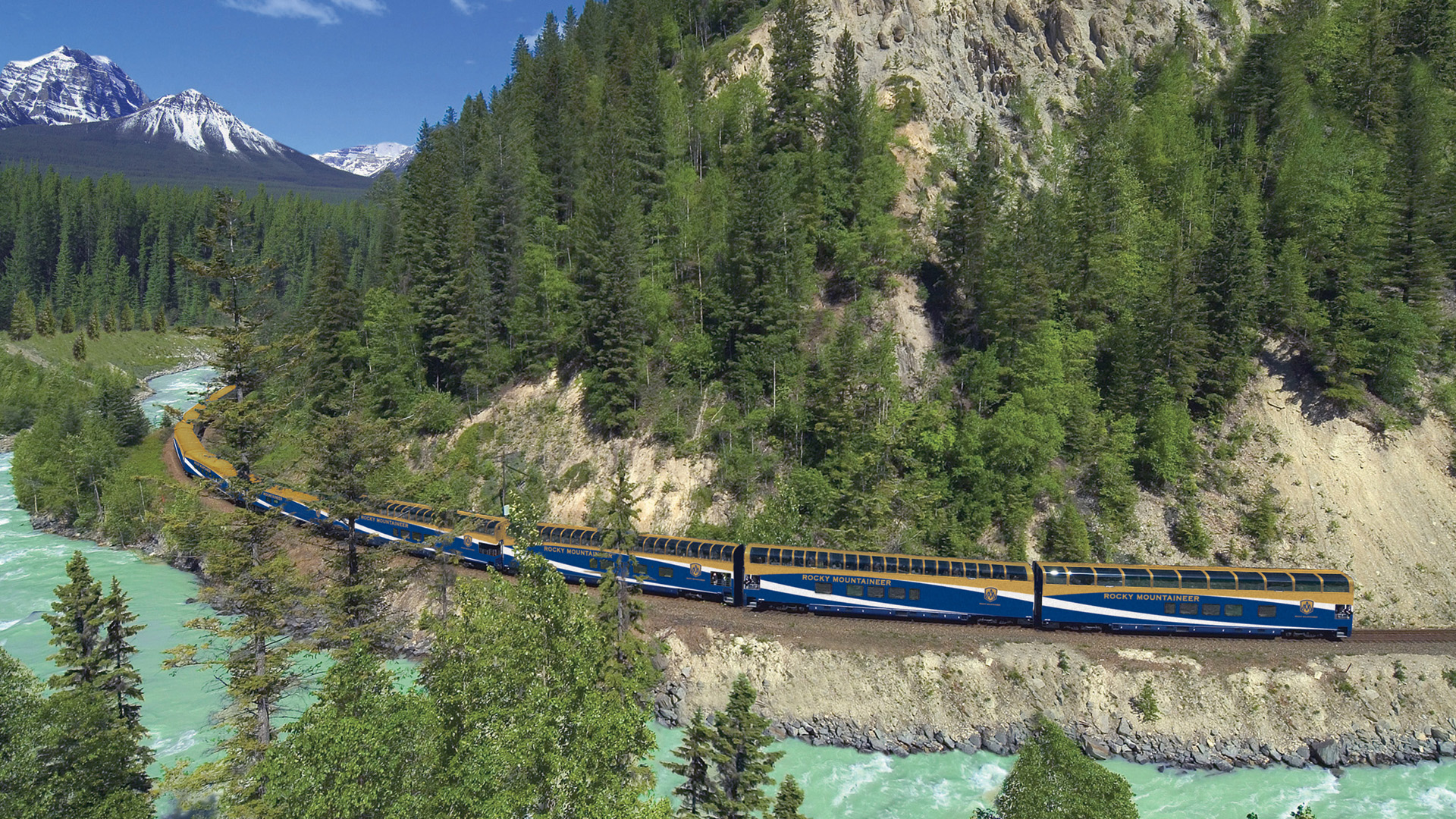 Rocky Mountaineer along Kicking Horse Canyon