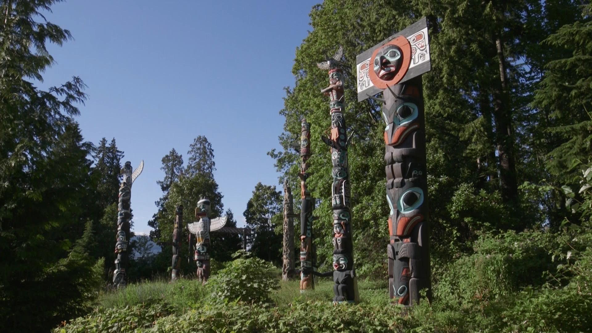 Totem poles at Bockton Point in Vancouver's Stanley Park