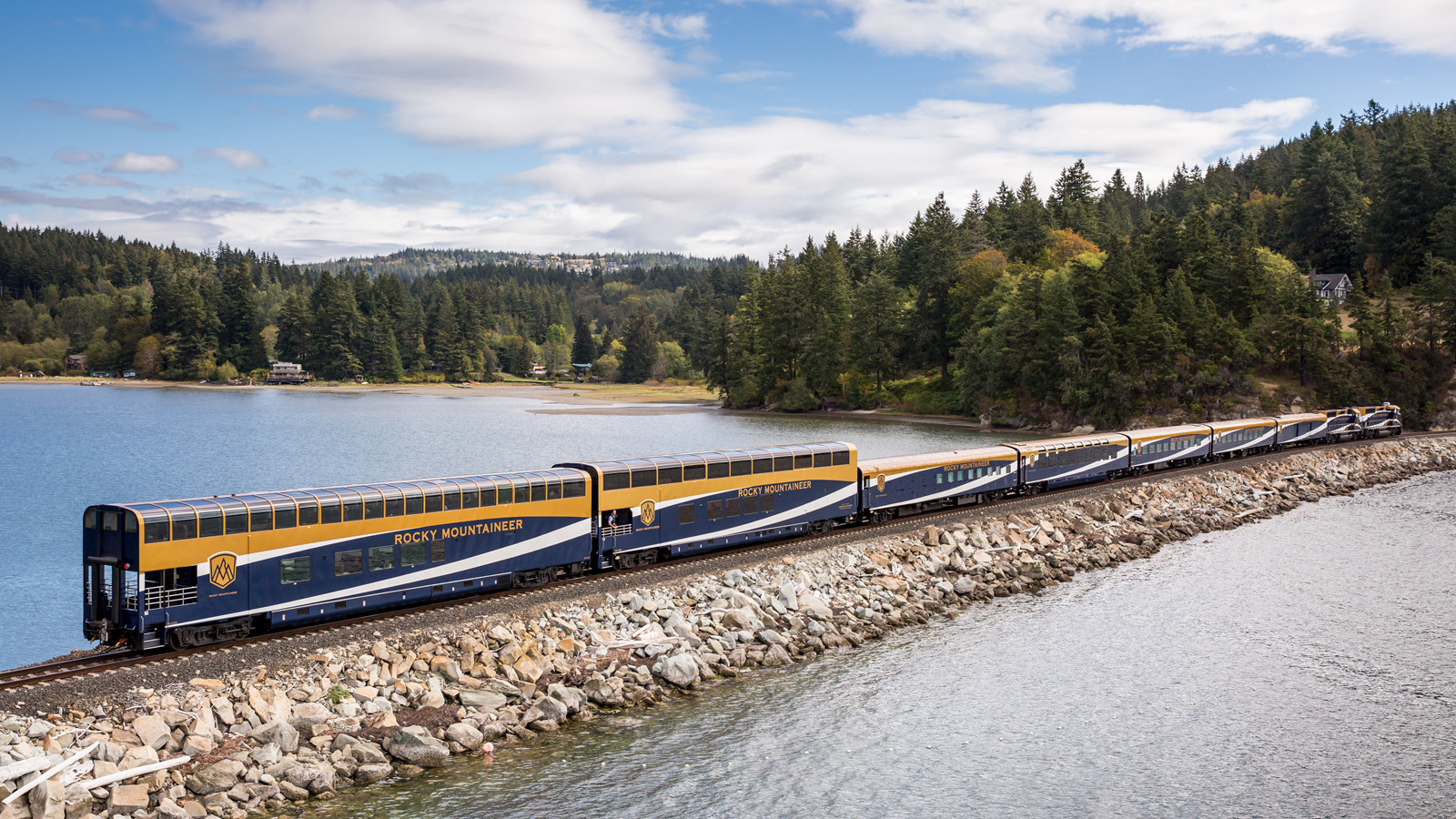 Rocky Mountaineer traveling along Chuckanut Bay