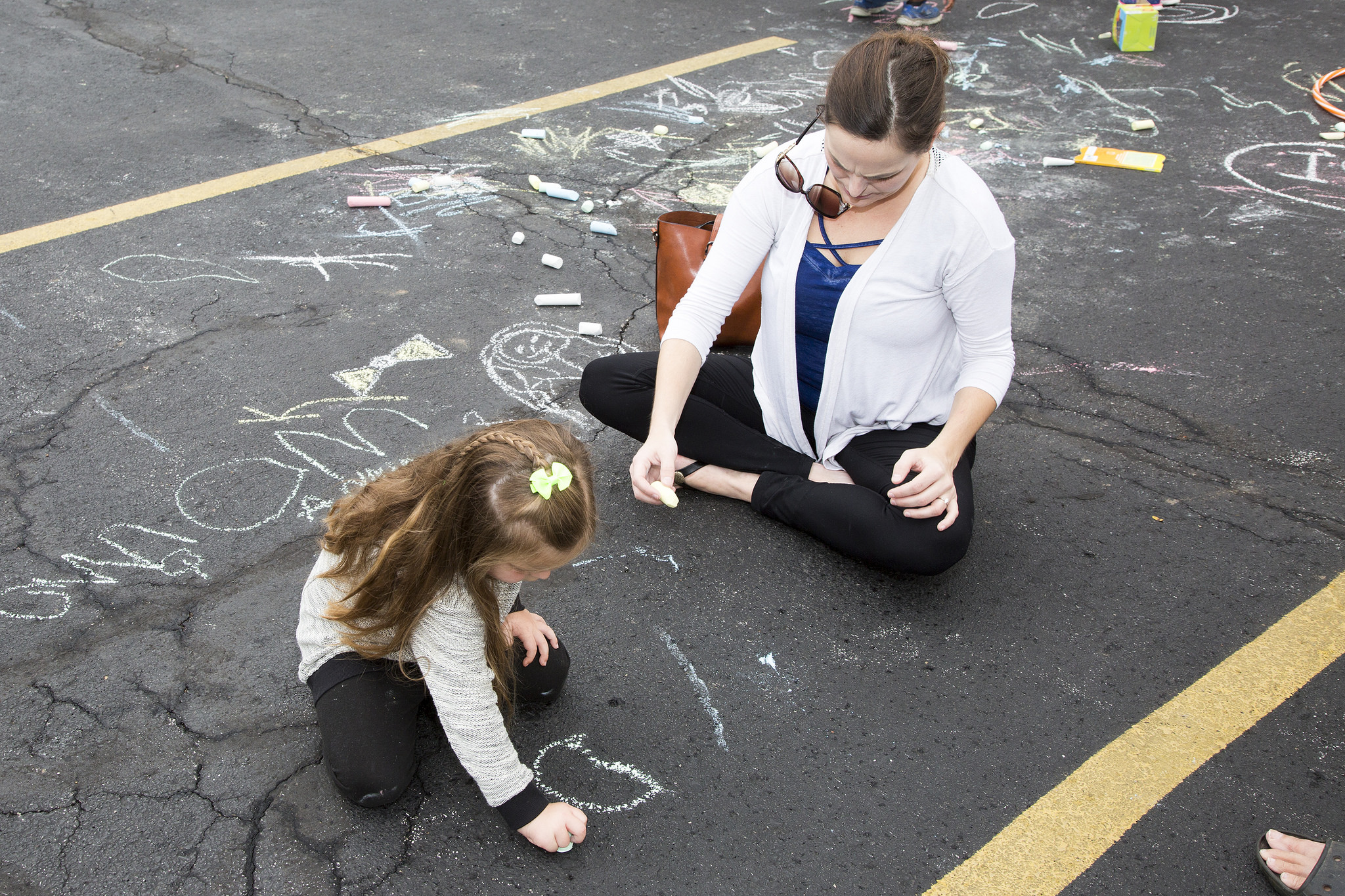 Sidewalk chalk art - mom and girl