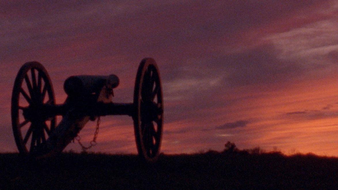 Civil War Canon at sunset