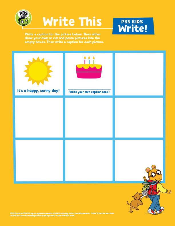 Write This! PBS Kids Worksheet