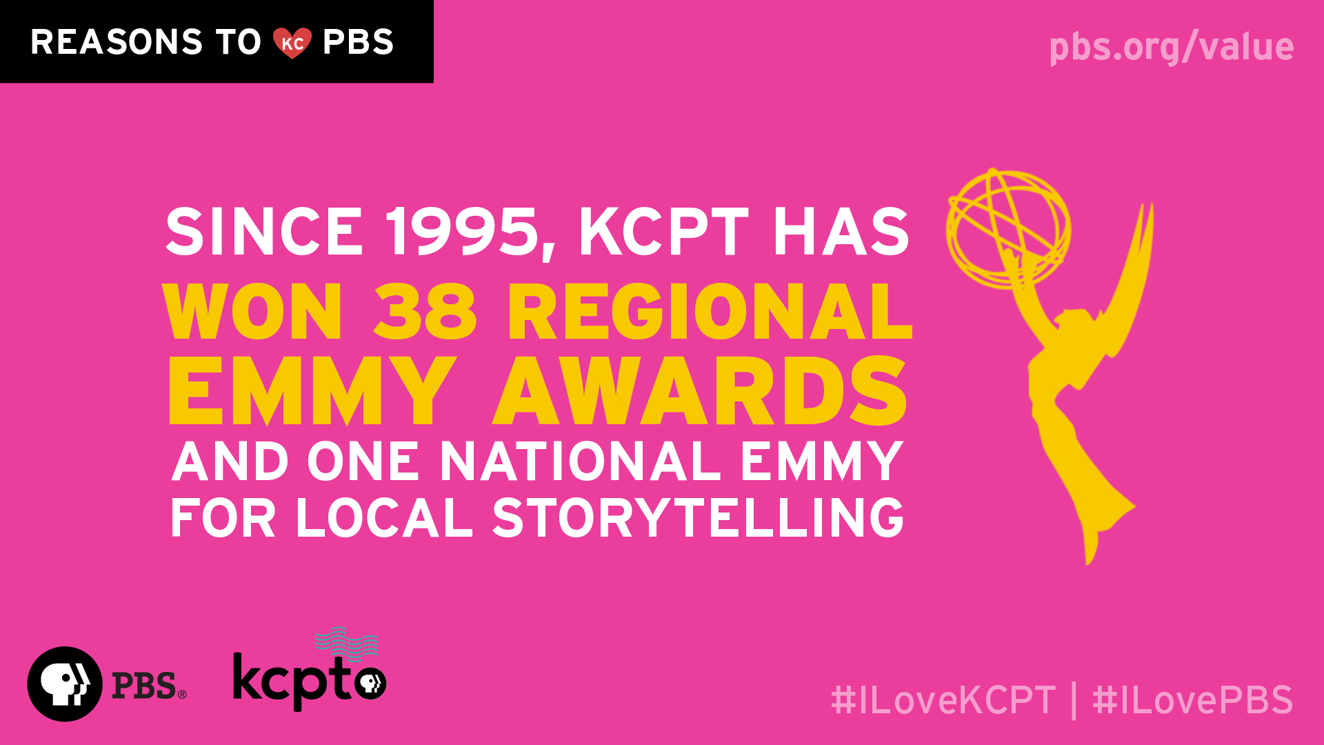 Since 1995, KCPT has won 38 regional EMMY Awards and one national EMMY for local storytelling.