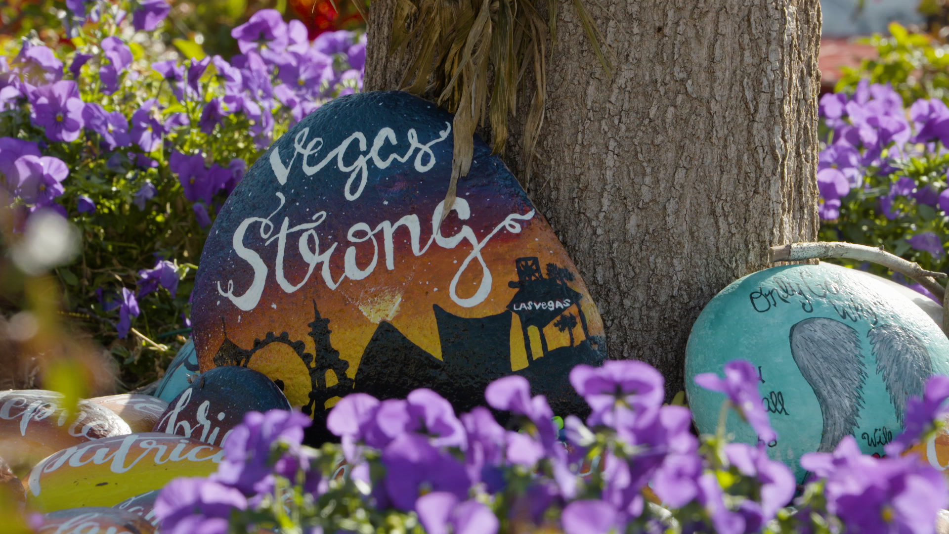 Vegas Strong rocks at memorial garden