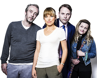 Sarah Alexander (front) is Marley to her ghosts, played by (l-r) John Hannah, Nicholas Burns and Jo Joyner.