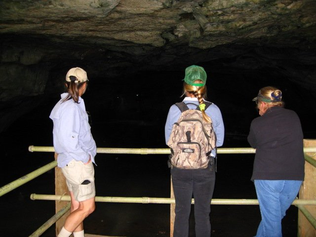 Travelers looking inside the Big Ice Cave