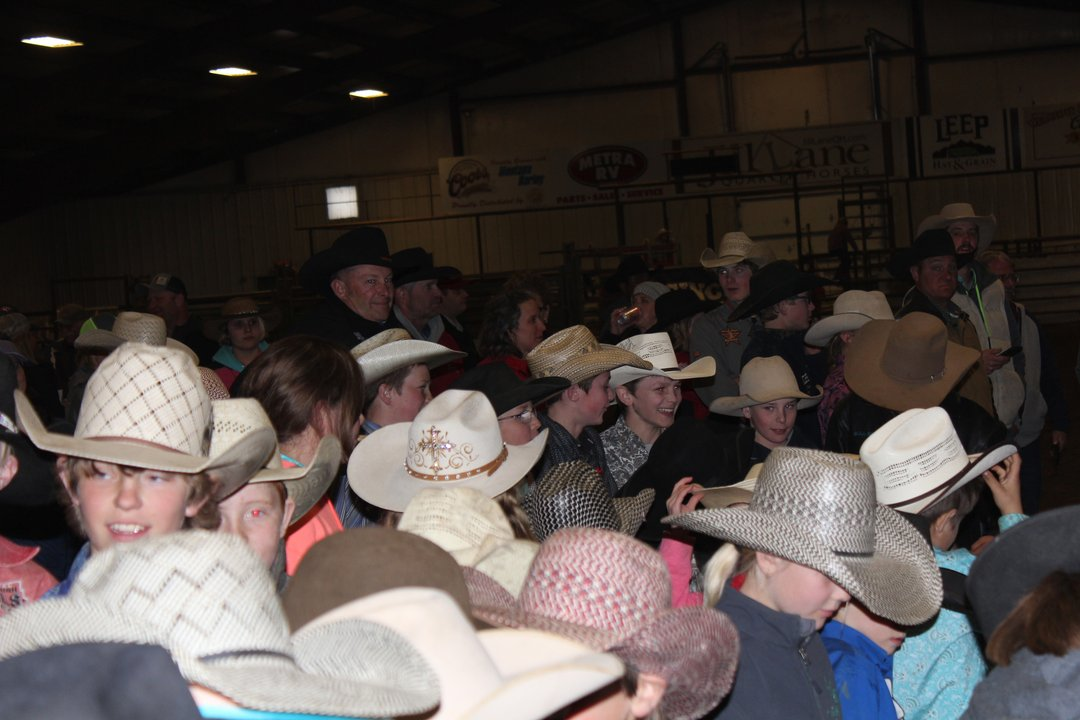 Cowboy hat hats young contestants awards ceremony Big Sky Little Britches Rodeo Laurel
