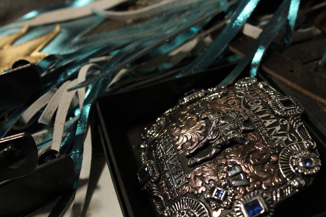 beautiful belt buckle prize winner Big Sky Little Britches Rodeo Laurel