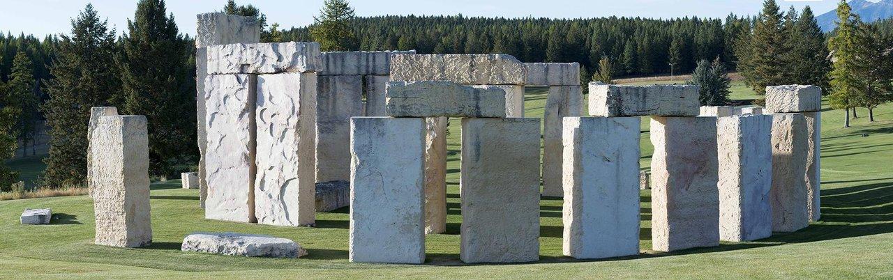 Stonehenge Air Museum Fortine replica limestone blocks 42 tons