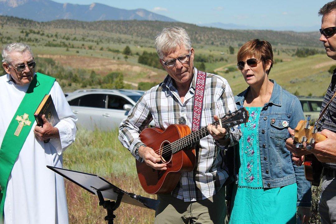 Steve Schwab plays gutair sings wrote ceremony Clubfoot George Lane Virginia City Montana