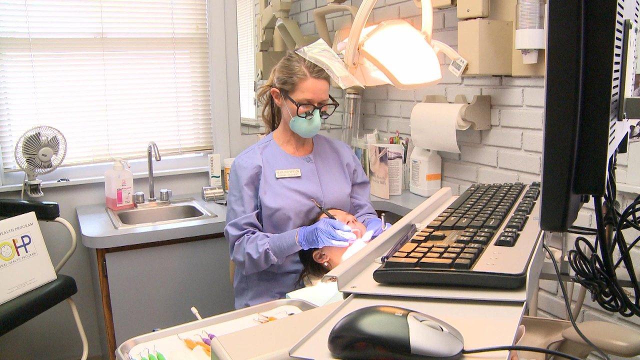 Dental hygienist Heidi Halverson working with American Eagle Instruments