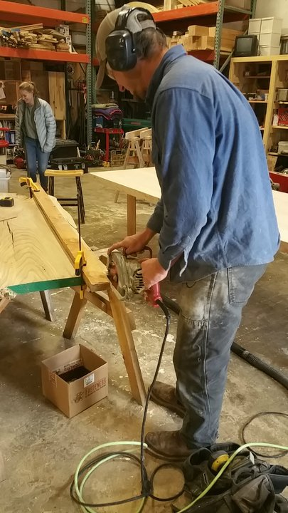 Dave Juran cuts planks at Bad Goat Forest Products
