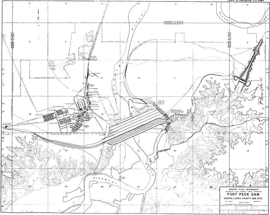 Plans map Fort Peck blueprint Montana