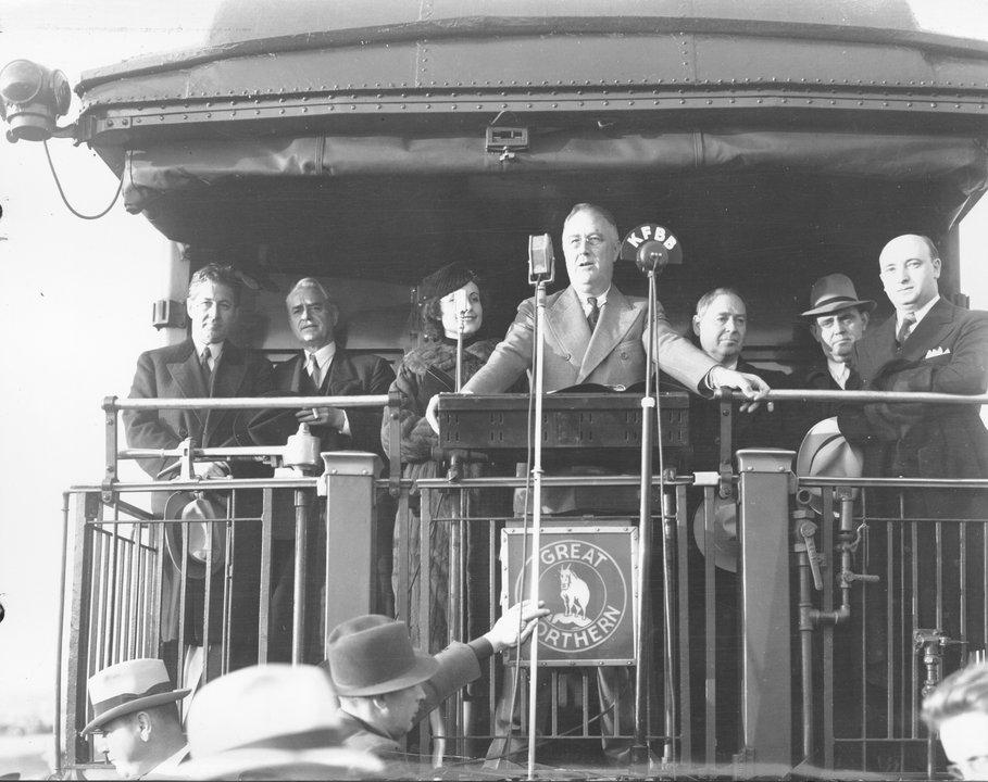 Franklin D. Roosevelt Speaks at Fort Peck Dam Site