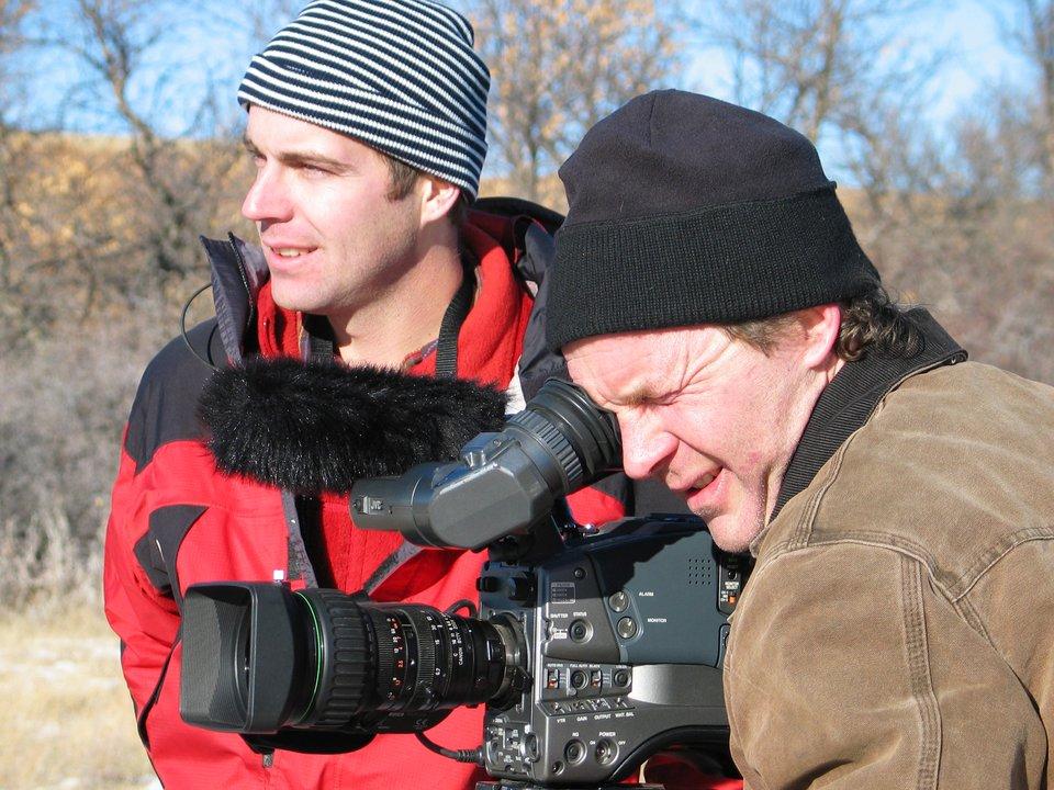 Ian Kellett and Jon Dodson during a winter shoot