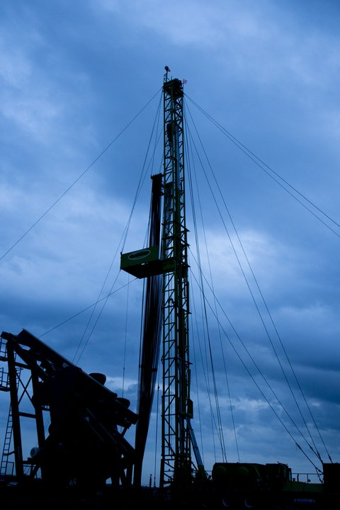 Oil drilling rig in Watford City ND