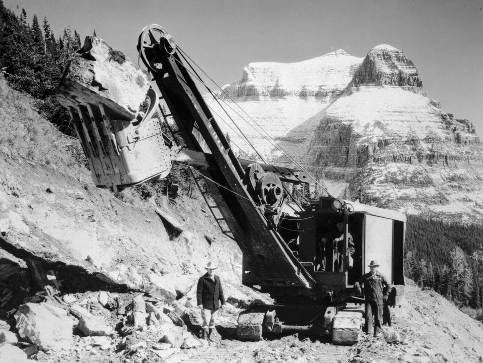 Colonial Construction Co steamshovel on Sun Road with GTS Montana in background Glacier Park Archives